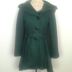 Steve Madden green fit and flare hooded jacket M